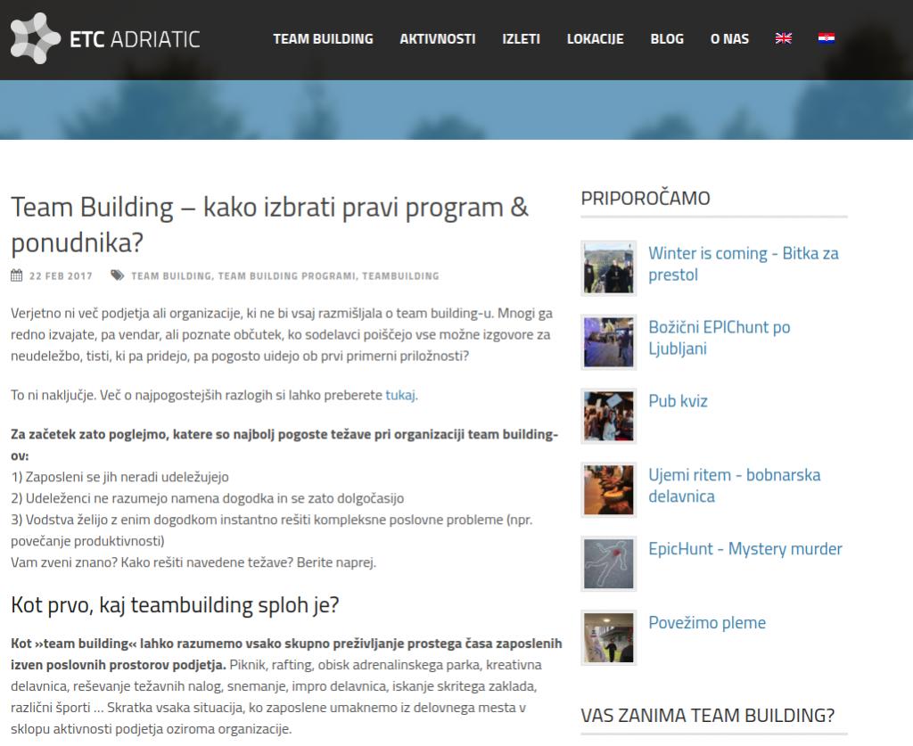 seo tečaj team building